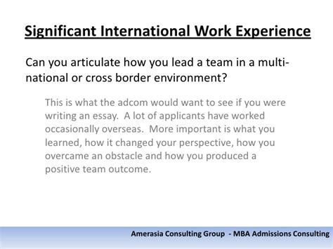 What Counts As Work Experience Mba what counts as significant international work experience