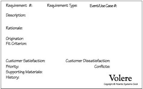 volere snow card template the shell mastering the requirements process 2nd edition