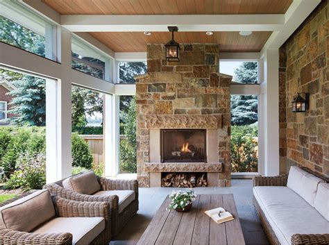 How To Build An Outdoor Fireplace Casual Cottage A Country House In The City Screened Porches Porch And