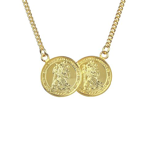 travel two coin st christopher necklace www
