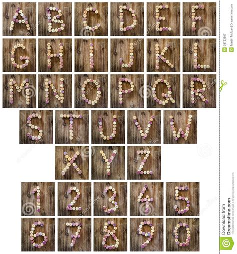 alphabet letters and numbers made from wine corks royalty