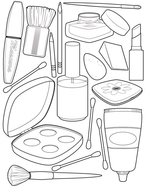 makeup coloring page illustration coloring pages