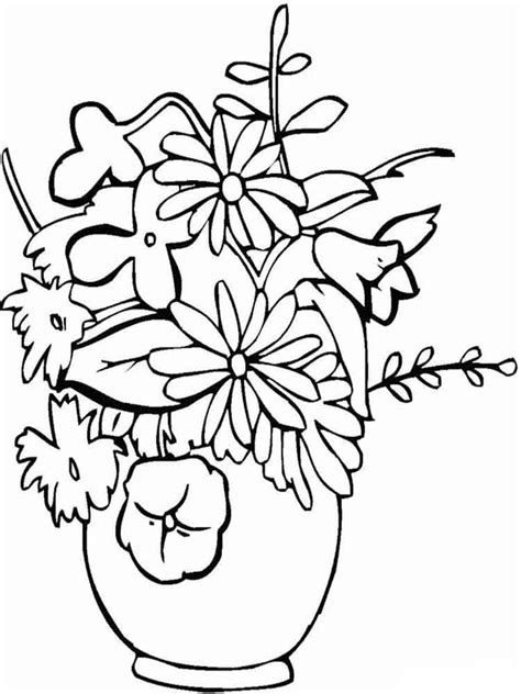 coloring pictures of flowers in a vase flowers in a vase coloring pages and print