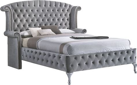 grey upholstered king bed deanna grey king upholstered platform bed from coaster
