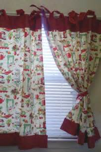 Etsy Kitchen Curtains Retro Quot 50 S Kitchen Quot Cafe Curtains Set Of 2 Panels