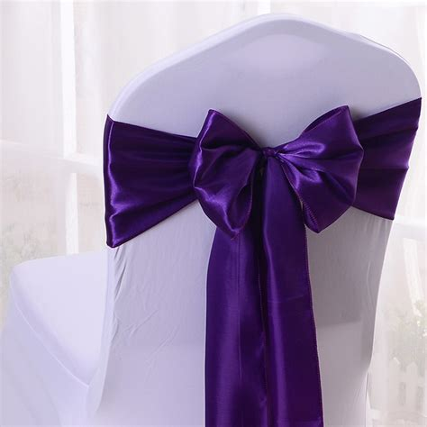 wedding chair sashes purple wholesales 30pcs dark purple satin chair bow sashes ribbon