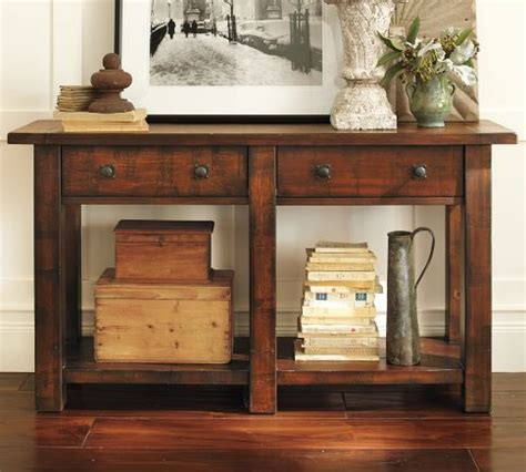 entry way furniture entry table benchwright console table rustic mahogany