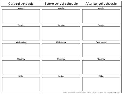 carpool schedule template carpool school schedule planner free