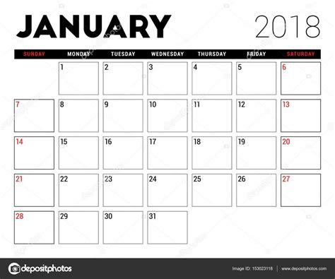 Calendario 2018 Enero Calendario Imprimible De Enero De 2018 Plantilla De