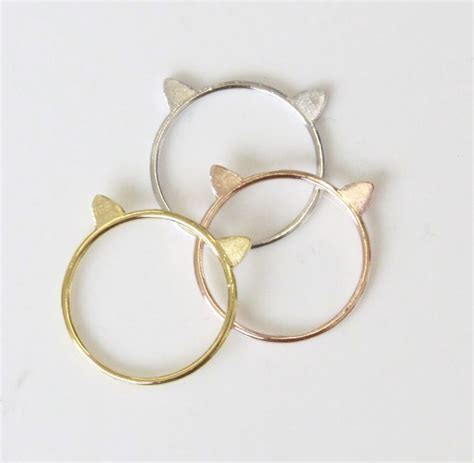 Ear Cat Bando Kucing Korea Gold cat ears design flat slim cut dainty stacking ring