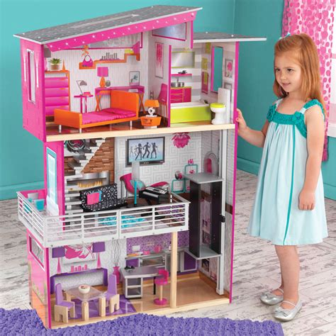 luxury dolls house furniture kidkraft luxury wooden kids dolls house with furniture fits barbie dollhouse ebay