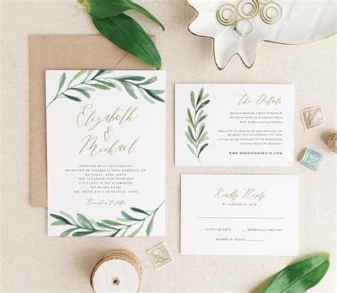 Greenery Wedding Invitation Template Printable Wedding Invitation Suite Modern Rustic Wedding Invitation Templates For Mac