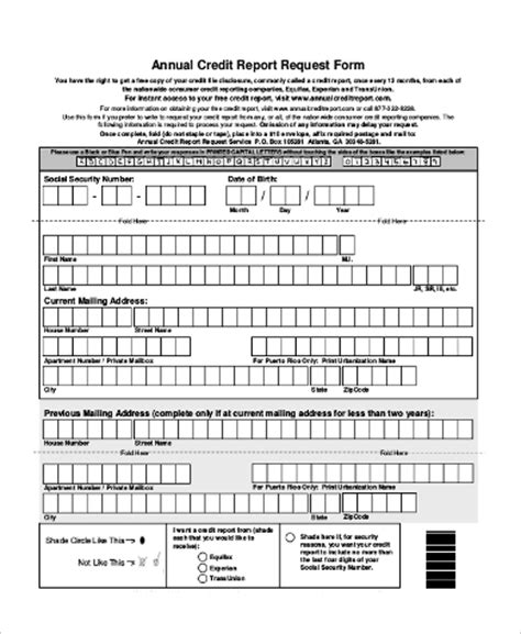 Credit Report Form Sle Annual Credit Report Form 8 Exles In Pdf Word
