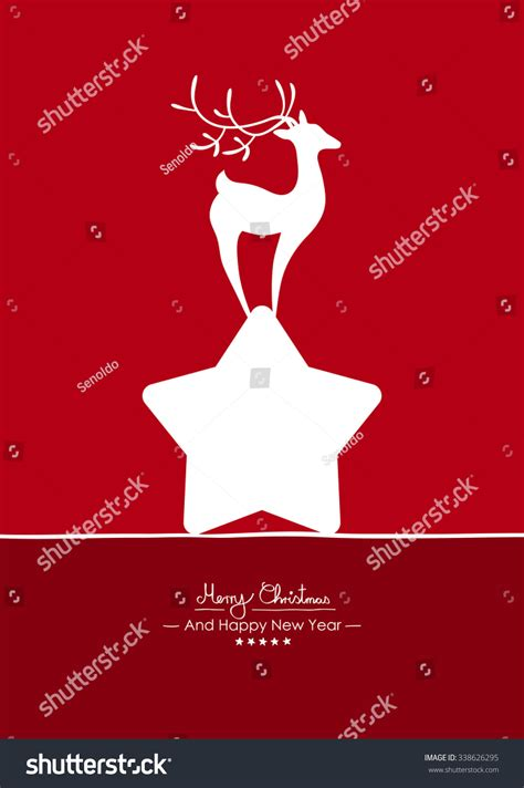 Merry Christmas Simple Red Vector Greeting And Christmas Card Template With Shapes Merry Greeting Card Template
