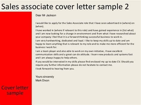Cover Letter For A Sales Associate by Sales Associate Cover Letter
