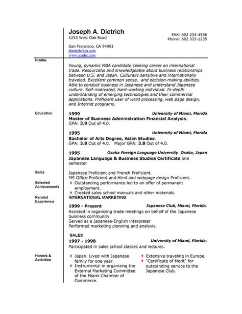 job resume templates free microsoft word south florida