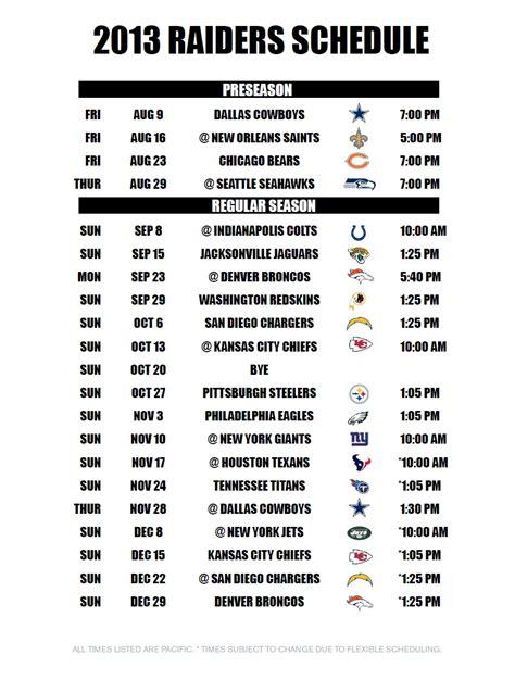 printable raiders schedule dallas cowboys schedule 2014 printable calendar template
