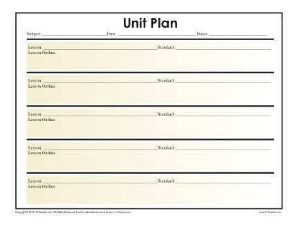 simple unit lesson plan template reading worksheets