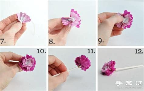 How To Make Tiny Tissue Paper Flowers - 皱纹纸 铜丝 吸管 小清新手工纸花的做法 手艺活网