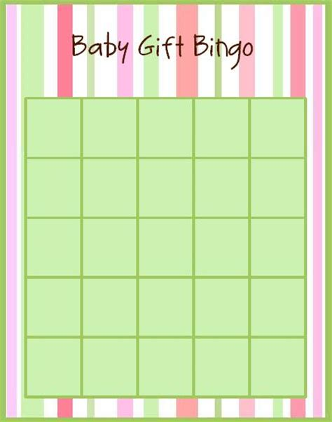Blank Baby Bingo Card Template Free by Baby Shower Blank Bingo Cards
