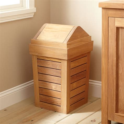 wastebaskets for bathrooms teak waste basket bathroom