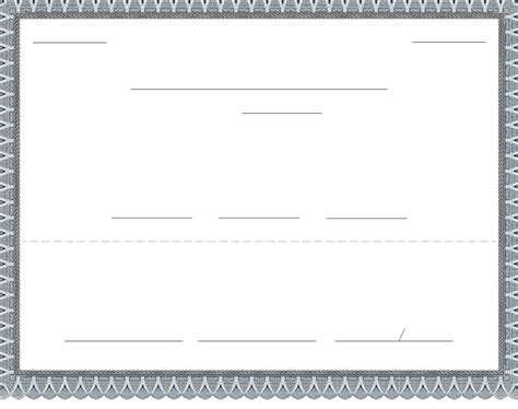 blank stock certificate template free download download
