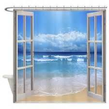 Window view of the beach shower curtain for