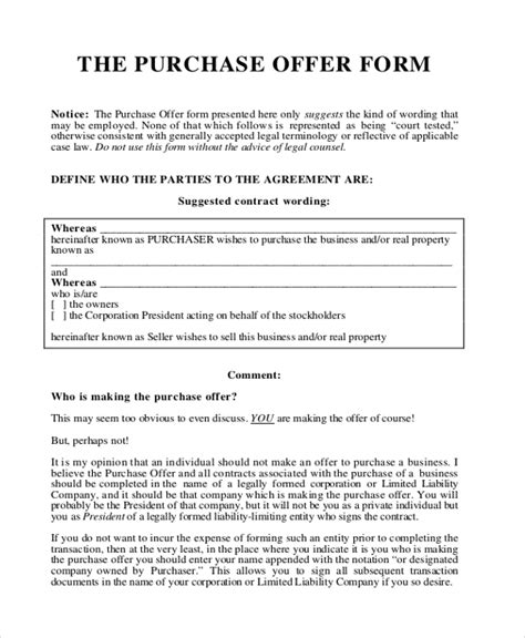Offer Letter To Purchase Offer Letter Sle 9 Free Documents In Pdf
