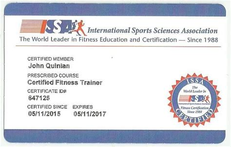 Personal Trainer Certification With Issa by Joseph Quinlan 2015 Official Issa Certified Personal