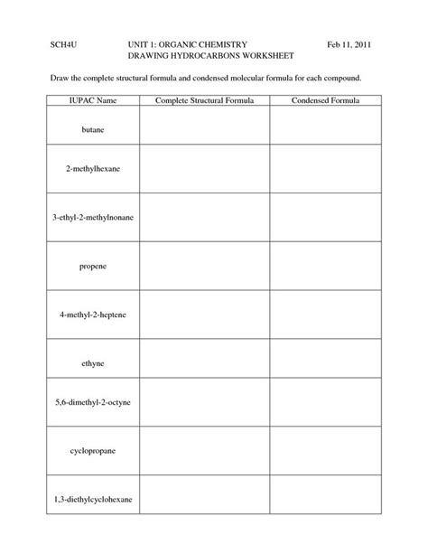 naming and drawing organic compounds worksheet answers hydrocarbon nomenclature naming drawing hydrocarbons
