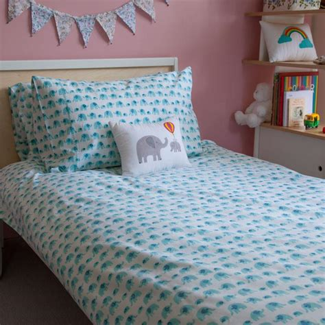 Tommony Bed Cover Single turquoise elephant single duvet cover lulu and nat