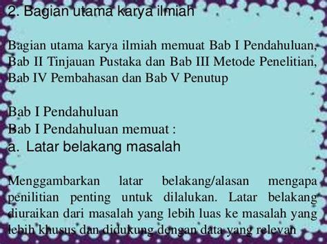 judul latar belakang rumusan masalah jadwal metode makalah bahasa indonesia bagian bagian karya ilmiah