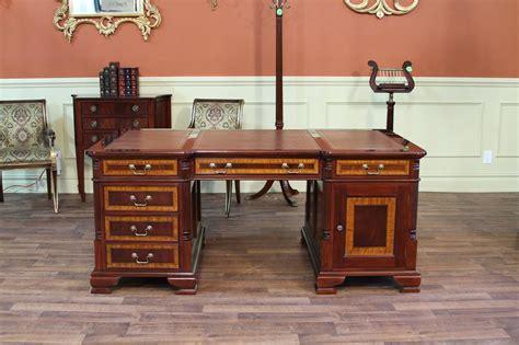 high top desk large high end leather top partners office desk ebay