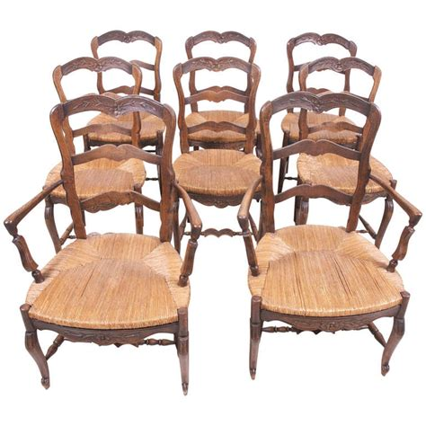 set of eight provincial louis xv dining chairs