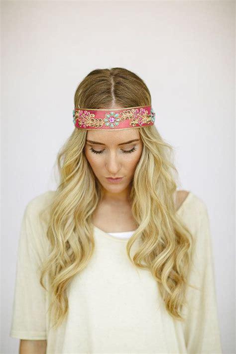 Jeweled Beaded Hair Tie bohemian headbands beaded jeweled indian ribbon band