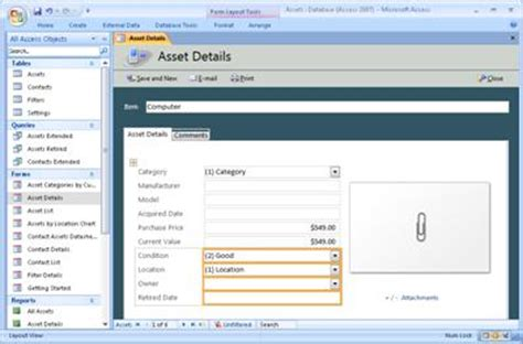 Modify The Assets Access Database Template Access Asset Database Template Free