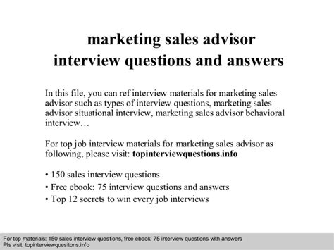 Mba Marketing Questions And Answers Pdf Free by Marketing Sales Advisor Questions And Answers