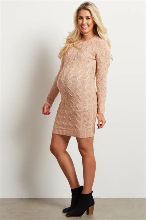 Dress Import 25866 Pink Knitting Dress pale pink cable knit maternity sweater dress