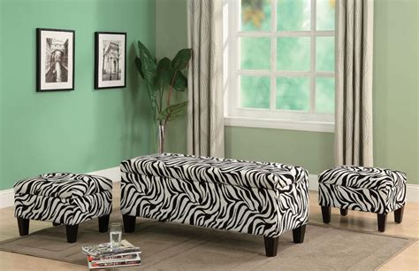 zebra print storage bench zebra print upholstered storage bench and two ottoman set