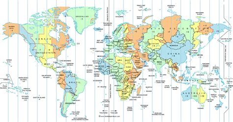printable world map time zones large world time zone map