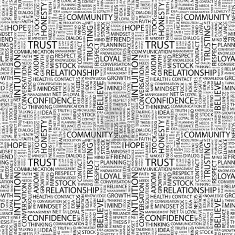 pattern of the words 8946381 trust seamless vector pattern with word cloud