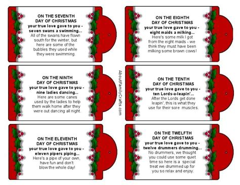 12 days of christmas gift tags silly 12 days of printable tags about family crafts