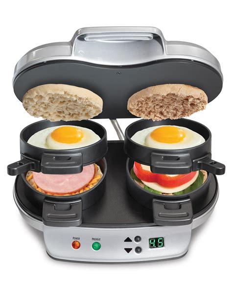 amazon com hamilton beach 25490a dual breakfast sandwich maker kitchen dining