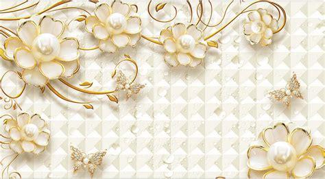 gold jewellry wallpaper 3d mural wallpaper gold flower jewelry luxury custom