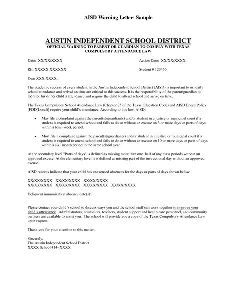 Parent Letter Regarding Attendance Sle Parent Letters School Attendance Chainimage