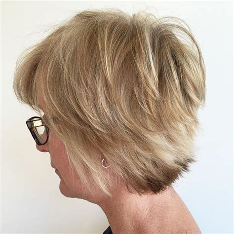 Layered Hairstyles For 60 by Layered Bob For 60 With Platinum