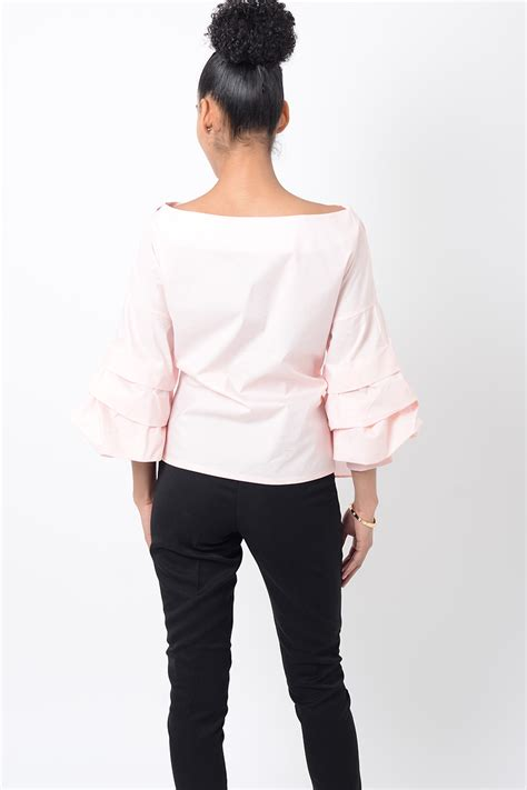 Embroidery Top Pink stylish pink embroidered ruffle sleeve top stylish tops
