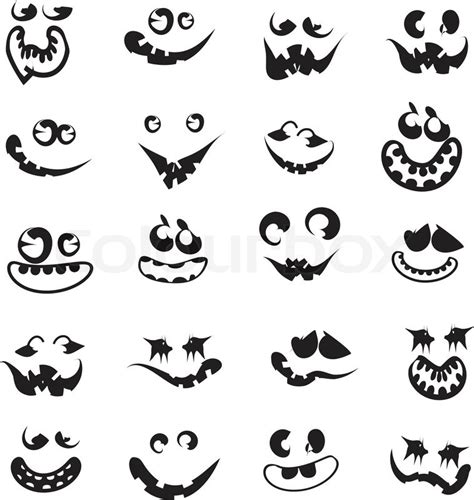 ghost faces pumpkin faces stock vector colourbox