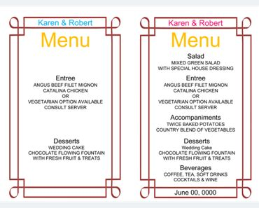 Wedding Menu Template 5 Free Printable Menu Cards Free Wedding Menu Templates For Microsoft Word