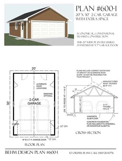 garage layout plans 2 car garage plan 600 1 by behm design garage plans by